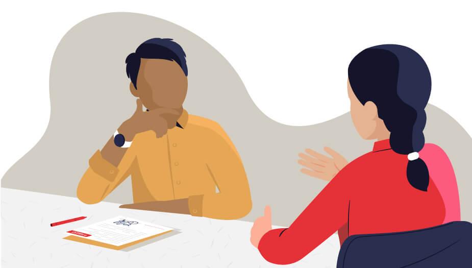 esprit scholen illustratie gesprek